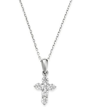 Bloomingdale's Diamond Mini Cross Pendant Necklace in 14K White Gold, 0.25 ct. t.w. - 100% Exclusive