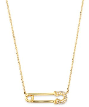 Bloomingdale's Diamond Safety Pin Pendant Necklace in 14K Yellow Gold, 0.10 ct. t.w. - 100% Exclusive