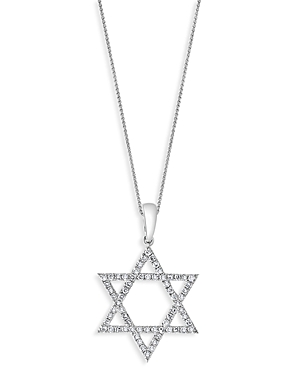 Bloomingdale's Diamond Star of David Pendant Necklace in 14K White Gold, 18, 0.25 ct. t.w. - 100% Exclusive