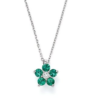 Bloomingdale's Diamond & Emerald Flower Pendant Necklace in 14K White Gold - 100% Exclusive