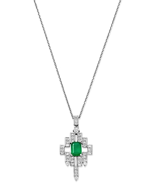 Bloomingdale's Emerald, Princess- & Round-Cut Diamond Deco Pendant Necklace in 14K White Gold, 16 - 100% Exclusive