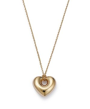 Bloomingdale's Puff Heart Pendant Necklace in 14K Yellow Gold, 16-1/2 - 100% Exclusive