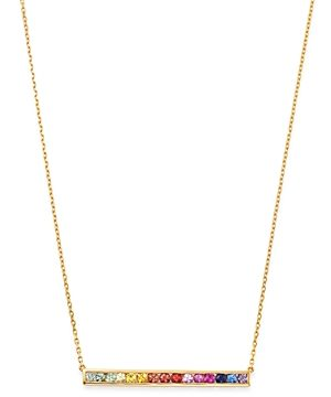 Bloomingdale's Rainbow Sapphire Bar Pendant Necklace in 14K Yellow Gold, 16-18 - 100% Exclusive