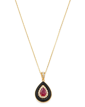 Bloomingdale's Ruby, Onyx & Diamond Pendant Necklace in 14K Yellow Gold, 16-18 - 100% Exclusive