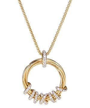 David Yurman 18K Yellow Gold Helena Round Pendant Necklace with Diamonds, 18