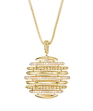 David Yurman 18K Yellow Gold Tides Pendant Necklace with Pave Diamonds, 36
