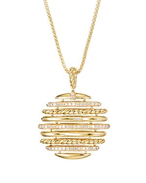 David Yurman 18K Yellow Gold Tides Pendant Necklace with Pave Diamonds, 36