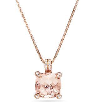 David Yurman Chatelaine Pendant Necklace with Morganite & Diamonds in 18K Rose Gold
