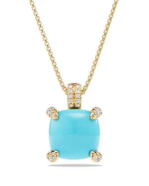 David Yurman Chatelaine Pendant Necklace with Turquoise and Diamonds in 18K Gold