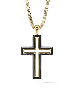 David Yurman Forged Carbon Cross Pendant with 18K Yellow Gold