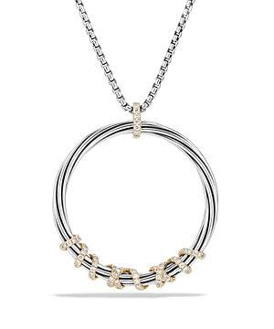 David Yurman Helena Large Pendant Necklace with Diamonds and 18K Gold