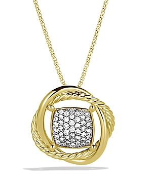 David Yurman Infinity Pendant with Diamonds in Gold on Chain