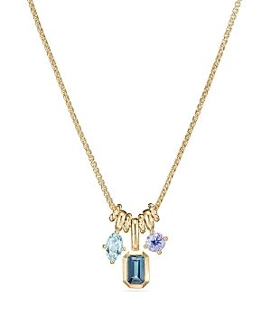 David Yurman Novella Pendant Necklace with Hampton Blue Topaz, Aquamarine & Tanzanite