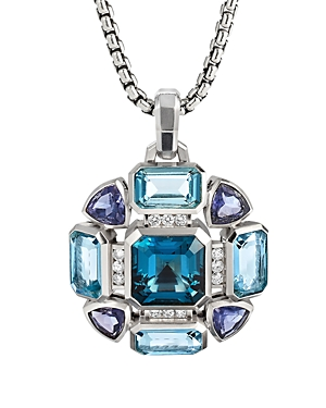 David Yurman Novella Statement Pendant with Blue Topaz and Pave Diamonds