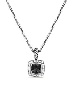 David Yurman Petite Albion Pendant with Black Onyx and Diamonds on Chain, 17