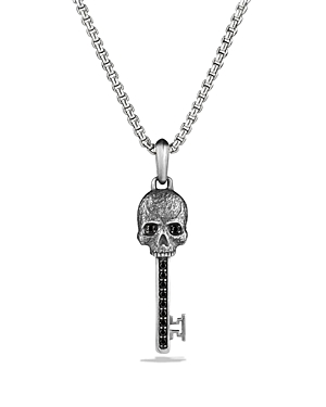 David Yurman Petrvs Skull Key Pendant with Black Diamonds