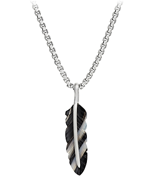 David Yurman Sterling Silver Southwest Feather Banded Agate Amulet Pendant