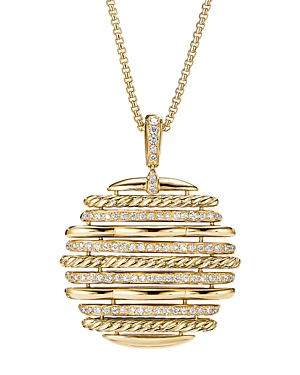 David Yurman Tides Pendant Necklace in 18K Yellow Gold with Diamonds, 36