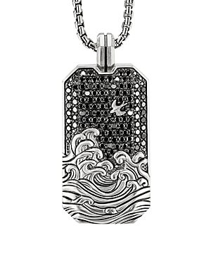 David Yurman Waves Large Tag Pendant with Pave Black Diamonds