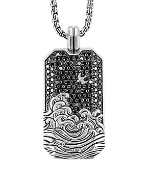 David Yurman Waves Large Tag Pendant with Pave Black Diamonds