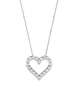 Diamond Heart Pendant Necklace in 14K White Gold, 3.0 ct. t.w. - 100% Exclusive