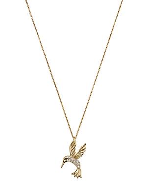 Diamond Hummingbird Pendant Necklace in 14K Yellow Gold, .09 ct. t.w.