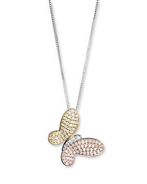 Diamond Pave Butterfly Pendant in 14K White, Yellow and Rose Gold, 0.40 ct. t.w.