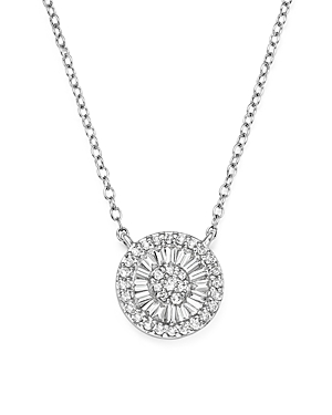 Diamond Round and Baguette Cluster Pendant Necklace in 14K White Gold, .30 ct. t.w. - 100% Exclusive