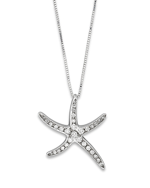Diamond Starfish Pendant in 14K White Gold, 0.25 ct. t.w.