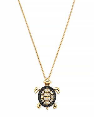 Diamond Turtle Pendant in 14K Yellow Gold, 0.15 ct. t.w.
