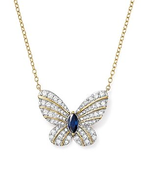Diamond and Blue Sapphire Butterfly Pendant Necklace in 14K Yellow Gold, 17 - 100% Exclusive