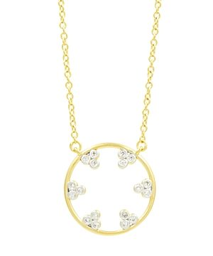 Freida Rothman Fleur Bloom Pave Hoop Pendant Necklace, 16