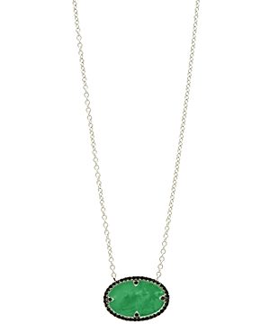 Freida Rothman Industrial Finish Oval Pendant Necklace in Rhodium-Plated Sterling Silver, 16