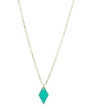 Gorjana Corina 18K Gold-Plated Pave & Gemstone Diamond-Shape Pendant Necklace, 20