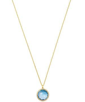 Ippolita 18K Yellow Gold Lollipop Medium Pendant Necklace in Blue Topaz with Pave Diamond, 18