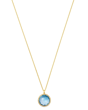 Ippolita 18K Yellow Gold Lollipop Medium Pendant Necklace in Blue Topaz with Pave Diamond, 18