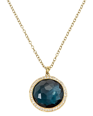 Ippolita 18K Yellow Gold London Blue Topaz & Diamond Pendant Necklace, 16-18