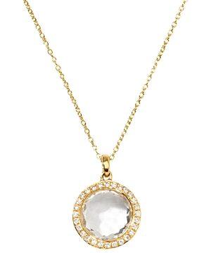 Ippolita 18K Yellow Gold Mini Lollipop Clear Quartz & Diamond Pave Halo Pendant Necklace, 18