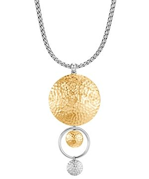 John Hardy 18K Yellow Gold & Sterling Silver Dot Drop Pendant Necklace, 16