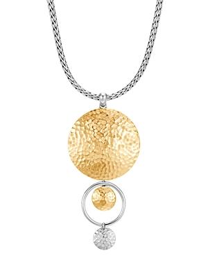 John Hardy 18K Yellow Gold & Sterling Silver Dot Drop Pendant Necklace, 16