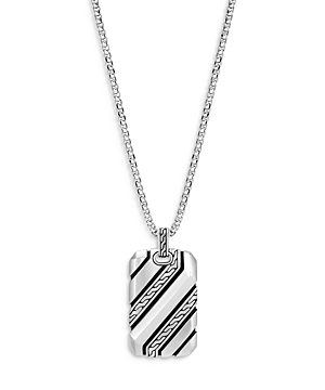 John Hardy Men's Sterling Silver Classic Dog Tag Pendant Necklace, 22