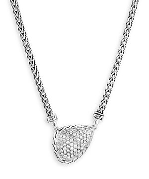John Hardy Sterling Silver Classic Diamond Power Rock Pendant Necklace, 16-18