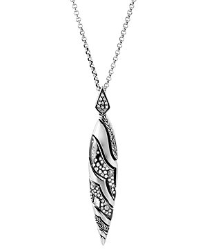 John Hardy Sterling Silver Lahar White & Gray Diamond Spear Pendant Necklace, 30