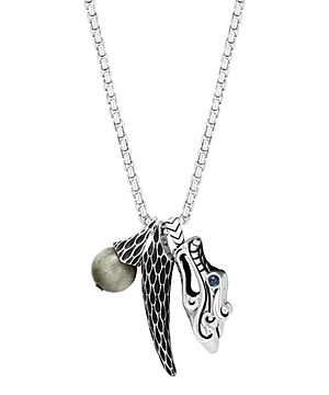John Hardy Sterling Silver Legends Naga Eagle Eye & Dragon Charm Pendant Necklace with Sapphire Eyes, 26