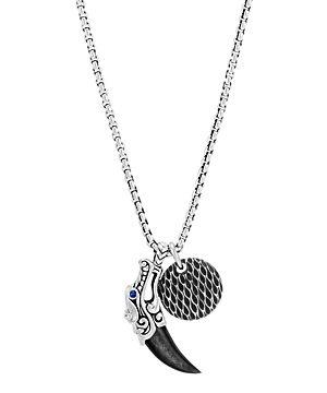John Hardy Sterling Silver Legends Naga Silver Sheen Obsidian & Blue Sapphire Eyes Pendant Box Chain Necklace, 24