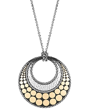 John Hardy Sterling Silver & 18K Yellow Gold Dot Round Pendant Necklace, 32