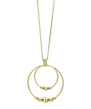 Lagos 18K Yellow Gold Caviar Gold Rolo Chain Pendant Necklace, 16-18