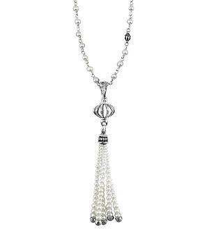 Lagos Sterling Silver Luna Pearl Tassel Pendant Necklace, 36