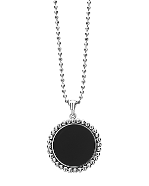 Lagos Sterling Silver Maya Black Onyx Circle Pendant Necklace, 34