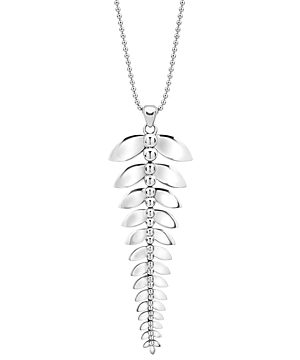 Lagos Sterling Silver Signature Caviar Leaf Pendant Necklace, 34